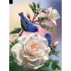 White Rose And Blue Bird 5D DIY Paint By Diamond Kit