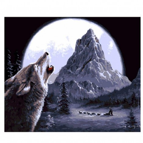 Wolf Howling 5D DIY Paint By Diamond Kit