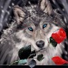 Roses and Wolf 5D DIY Paint By Diamond Kit