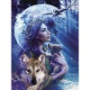 Woman With Wolf  5D DIY Paint By Diamond Kit