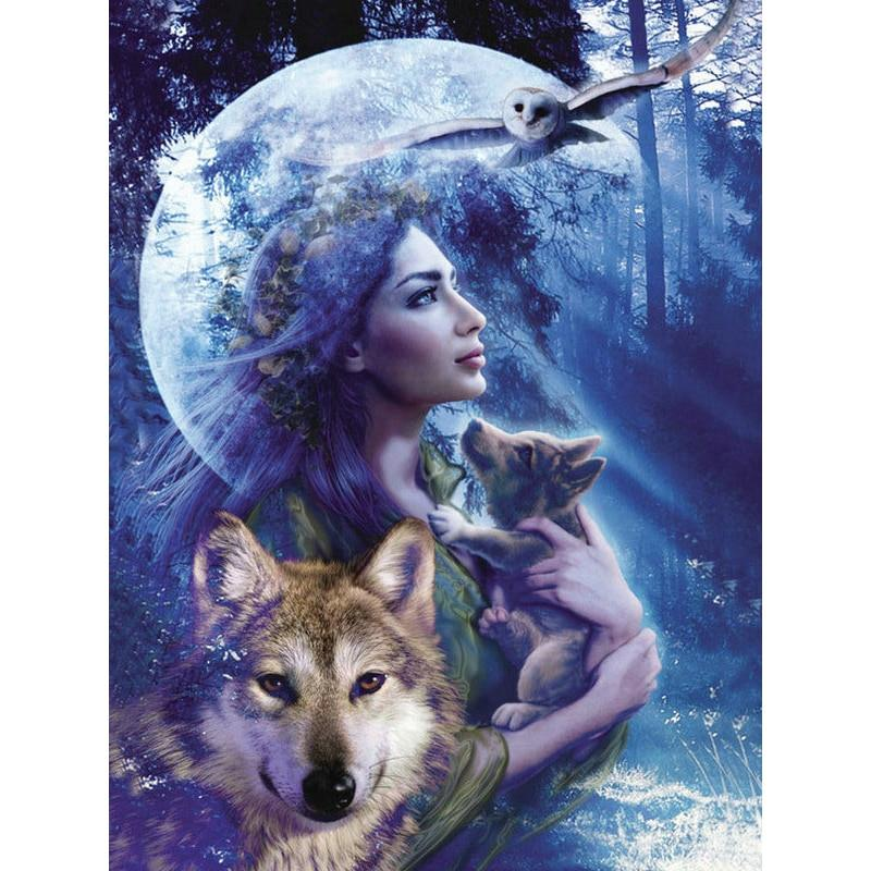 Woman With Wolf  5D ...