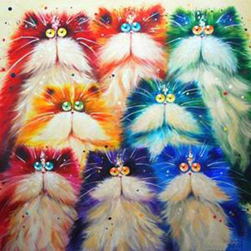 8 Cartoon Cats 5D DIY Pai...