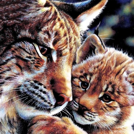 Mother & Baby Tiger 5D DIY Paint By Diamond Kit