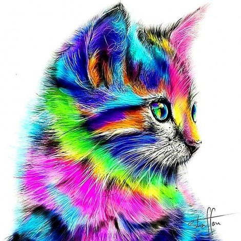 Abstract Multi-Color Cat 5D DIY Paint By Diamond Kit