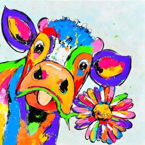 Colorful Cow With Flower 5D DIY Paint By Diamond Kit