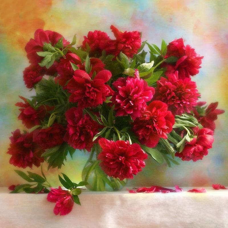 Red Peony Flowers 5D...