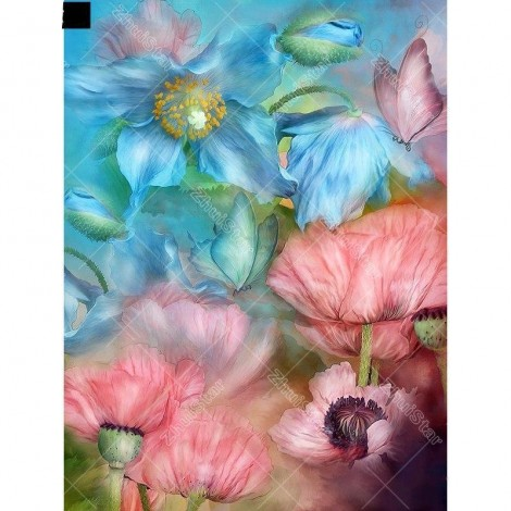 Blue And Pink Flowers 5D DIY Paint By Diamond Kit